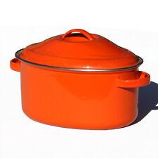 Cocotte ovale vintage en tôle d'aluminium émaillée orange Le Creuset