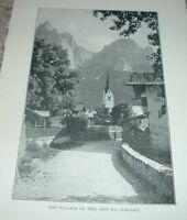 1903 Antique Print VILLAGE OF SEIS AND MOUNT SCHLERN The Dolomites Italy