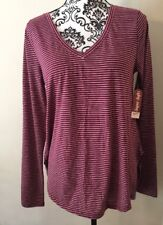Arizona Jeans Juniors Large Maroon Striped Long Sleeved Tunic NWT