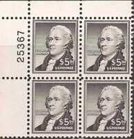 US Stamp 1956 Alexander Hamilton Plate Block of 4 Stamps #1053 MNH