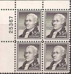 Ee. Uu. Sello 1956 Alexander Hamilton Placa Bloque De 4 Sellos #1053 MNH