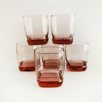 Set of 6 Libbey Carrington Tumblers Rose Square Old Fashion Barware Cocktail
