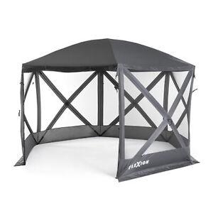 SlumberTrek Flexion 6 Sided Gazebo Canopy with Mesh Screen Netting, Gray (Used)