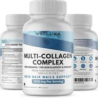 100% Natural Multi Collagen Peptides Anti Aging Skin Collagen Pills 2000mg 90ct