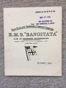New Zealand Shipping Co. - rms Rangitata - Deck Plan - 1952