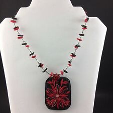 Red & Black Flower Polymer Beaded Wire Necklace Pendant Handmade Signed THOA