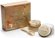 New Sabon Patchouli Lavender Vanilla Gift Set Body Scrub Body Lotion Wood Spoon