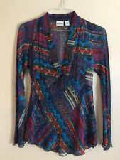 Chico's Multicolored Long Sleeve Silk Tunic Top Sheer Women's Size 0