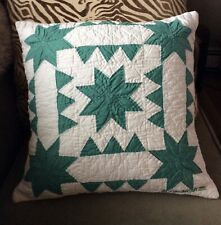 NEW Judi Boisson Quilted Throw PILLOW Americana Sawtooth Stars Green White $188