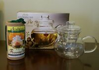 PRIMULA 40 oz Glass Tea Pot with 12 Flowering Teas and Loose Tea Infuser NEW