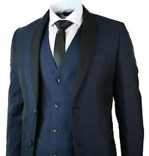 Men Suit Round Shawl Lapel Tuxedo Dinner  3 Piece Wedding Prom Party Blue Black