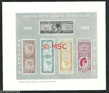INDIA 1951 IMPERF TELEGRAPH CENTENARY MINIATURE / SOUVNER SHEET MNH GOOD QUALITY