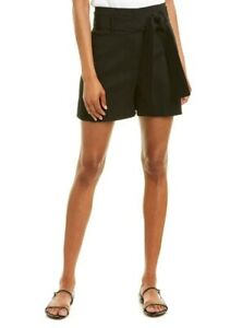 Theory Belted Black Linen Shorts Size 0