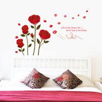 rote Rosen Wandsticker Natur Gold Sprich Zitat Wandtattoo WandAufkleber Sticker