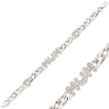 STERLING SILVER LADIES SOLID IDENTITY MUM CURB NAME CHAIN ID CZ BRACELET BOXED