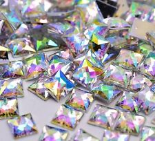 50 x AB Clear Sew on Acrylic Square Diamante Crystal Gems Rhinestone 10mm
