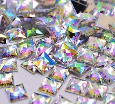 50 x AB Clear Sew on Acrylic Square Diamante Crystal Gems Rhinestone 10mm #5