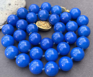 Chinese Export Gilt Silver A Quality Royal Blue Gemstone Bead Necklace
