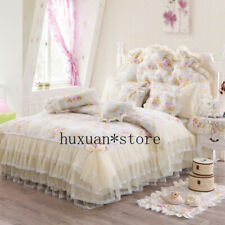 New 100%Cotton Princess Bedding Set Lace Duvet Cover Bed Skirt Pillow Mat Cover