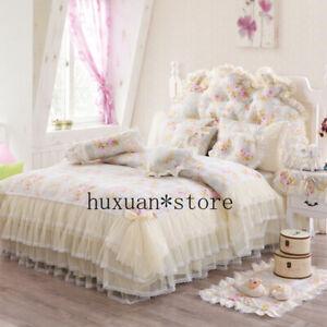 New 100%Cotton Princess Bedding Set Lace Duvet Cover Bed Skirt Pillow Mat Cover