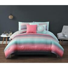 Bed in a Bag Ombre Effect Comforter Decorative Pillow Sham Sheet Set King Size