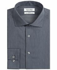 NWT $98 CALVIN KLEIN Men SLIM-FIT BLACK WHITE LONG-SLEEVE DRESS SHIRT 16.5 34/35