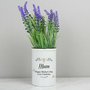 Personalised Floral Ceramic Flower Pot Vase Queen Bee Birthday Gift for Her