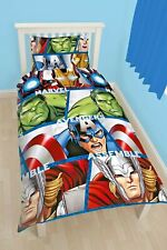 SINGLE BED DUVET COVER SET MARVEL AVENGERS THOR HULK IRON MAN CAPTAIN AMERICA