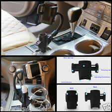 Dual USB 2 Port Car Charger Cell Phone Mount Stand Holder for Mobile Phones GPS