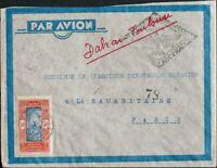 Dahomey. Sobre Yv 74. 1937. 50 cts rojo y azul. Dirigida a PARIS. En el frente