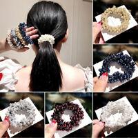Women Hair Accessories Pearls Headbands Ponytail Holder Girls Scrunchies Rubbe`