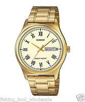 MTP-V006G-9B Gold Casio Men's Watch Stainless Steel Band Date Day Brand-New