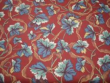 Vintage KATZENBACH & WARREN Burgundy Modern Asian Floral Curtain Fabric 7 yds