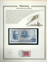 Norway 10 kroner P 36c 1977 UNC with UN FDI FLAG STAMP Prefix AØ