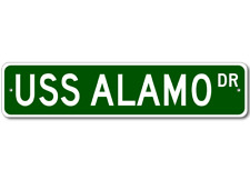 USS ALAMO LSD 33 Ship Navy Sailor Metal Street Sign - Aluminum