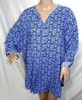 Cathy Women Plus Size 2x 3x Blue White Rayon Tee T Shirt Tunic Top Blouse