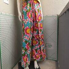 70s Wrap Pants Festival Bright Floral Pink Front Tie Sz S M Blue Green Vintage