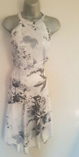 LIPSY VIP Grey White Satin Toni High Low Dip Hem Skirt Dress 10 Petite £120