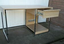 OAK EFFECT & CHROME OFFICE DESK WITH DRAW - IMMACULATE CONDITION STAPLES