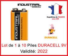 Lot de 1 à 10 Piles DURACELL Industrial 9V / 6LR61 / PP3  / MN1604 - DLC 2022
