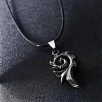 Titanium Steel Flame Pendant Necklace Fashion Cool Rope Chain Jewelry for Men C