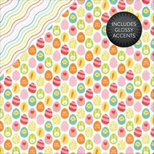 "Echo Park Celebrate Easter HUNTING EGGS 12x12"" d/sided scrapbooking gloss paper"
