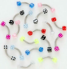 5 16g UV DICE EYEBROW Rings WHOLESALE Body Jewelry LOT
