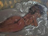 "Nude Female Girl Figure Impressionist Original Oil Painting, 18""x24"" Signed"