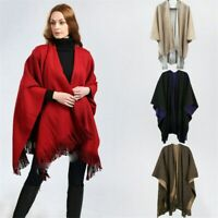 Women Ladies Side Split Tassel Shawl/Cape//Poncho/Scarf/Wrap Winter