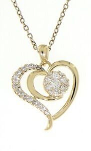 Solid Real Natural Cluster Diamond 14K Yellow Gold 0.30CT Heart Fine Pendant