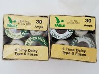 Lot of 8 Eagle 675-30 Type S Fuses 30 Amp 125V Screw In Time Delay Fuse