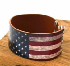 USA Flag Men Women Adjustable Genuine Leather Bracelet Bangle Wristband Support