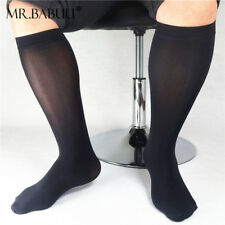 3/5Pairs Pack Men's Black Mid Calf To Over The Calf Silk Sheer Boots Dress Socks