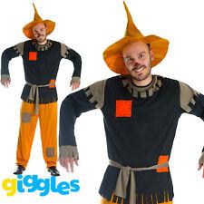 Mens Scarecrow Costume & Hat Fancy Dress Fairytale World Book Day Week Halloween